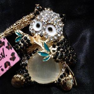 Betsey Johnson Panda Bear Crystal Necklace